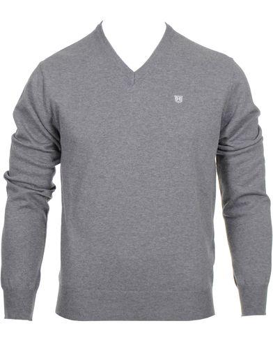 Hackett Pima Cotton V-Neck Pullover Grey i gruppen Tr�jor / Pullover / Pullover V-ringad hos Care of Carl (10336211r)