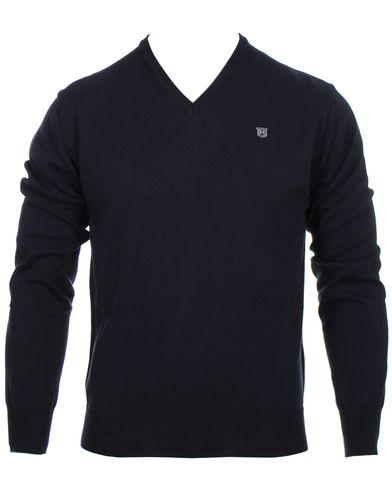 Hackett Pima Cotton V-Neck Pullover Navy i gruppen Tr�jor / Pullover / Pullover V-ringad hos Care of Carl (10336311r)