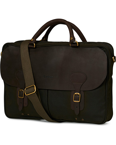 Barbour Lifestyle Wax Leather Briefcase Olive  i gruppen Tasker / Skuldertasker hos Care of Carl (10006110)