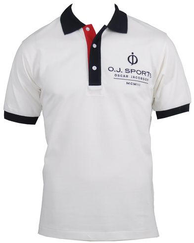 Oscar Jacobson Logo Polo Shirt White i gruppen Kläder / Pikéer hos Care of Carl (10110611r)