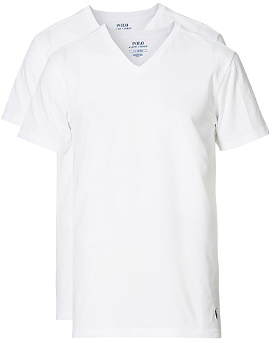Polo Ralph Lauren 2-Pack T-Shirt V-Neck White i gruppen Klær / T-Shirts / Kortermede t-shirts hos Care of Carl (10296211r)
