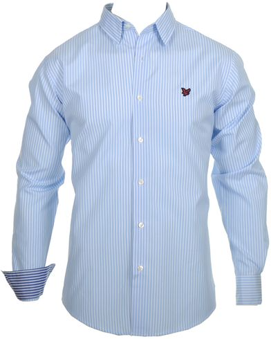 Lyle & Scott Stripe Shirt Imperial Blue i gruppen Skjortor / Businesskjortor hos Care of Carl (10311811r)
