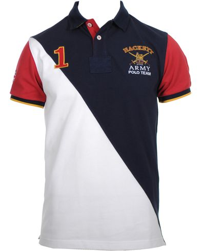 Hackett Army Polo Team Diagonal Pik� Navy/White i gruppen Pik�er hos Care of Carl (10315911r)