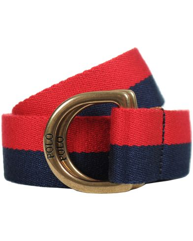 Polo Ralph Lauren Stripe D-Ring Belt Red/Navy i gruppen Accessoarer / Bälten hos Care of Carl (10327811r)