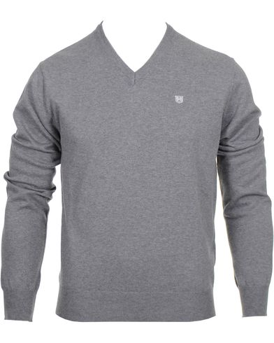 Hackett Pima Cotton V-Neck Pullover Grey i gruppen Tröjor / Pullovers / V-ringade pullovers hos Care of Carl (10336211r)