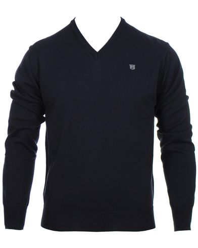 Hackett Pima Cotton V-Neck Pullover Navy i gruppen Tröjor / Pullovers / V-ringade pullovers hos Care of Carl (10336311r)