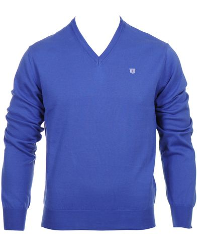 Hackett Pima Cotton V-Neck Pullover Bright Ble i gruppen Tröjor / Pullovers / V-ringade pullovers hos Care of Carl (10336411r)