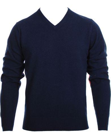 Stenströms Cashmere V-Neck Pullover Navy i gruppen Tröjor / Pullovers / V-ringade pullovers hos Care of Carl (10343511r)