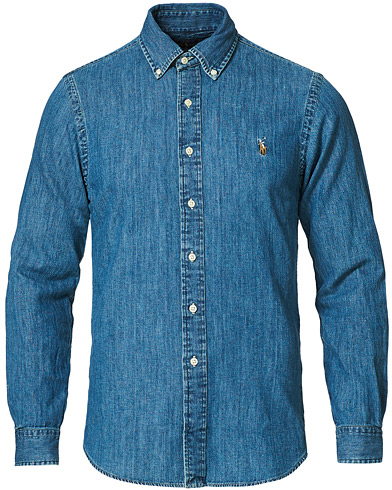 Polo Ralph Lauren Slim Fit Shirt Denim Dark Wash i gruppen Skjortor / Jeansskjortor hos Care of Carl (10494411r)