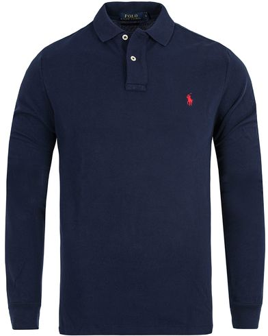 Polo Ralph Lauren Long Sleeve Custom Fit Piké Navy i gruppen Klær / Pikéer / Langermet piké hos Care of Carl (10508111r)