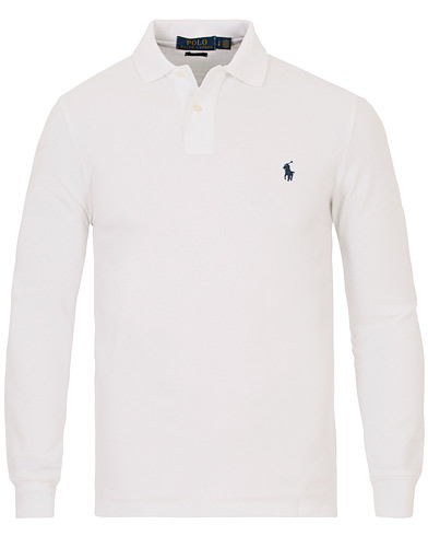 Polo Ralph Lauren Long Sleeve Custom Fit Piké White i gruppen Polotrøjer / Langærmede polotrøjer hos Care of Carl (10508211r)