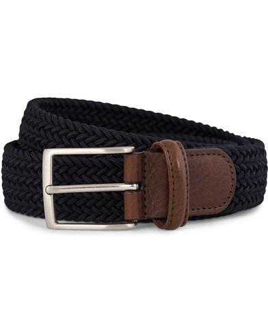 Anderson's Elastic Textile Belt 3,5 cm Navy i gruppen Accessoarer / Bälten / Flätade bälten hos Care of Carl (10512911r)