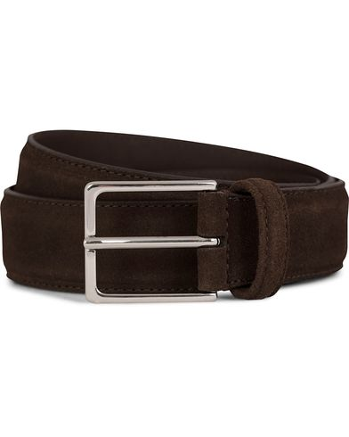 Anderson's Suede Leather Belt 3,5 cm Brown i gruppen Accessoarer / Bälten / Släta bälten hos Care of Carl (10513311r)