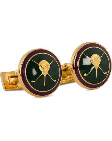 Skultuna Cuff Links Golf Gold/Green  i gruppen Tilbehør / Manchetknapper hos Care of Carl (10529410)