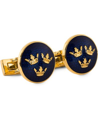 Skultuna Cuff Links Tre Kronor Gold/Royal Blue  i gruppen Accessoarer / Manschettknappar hos Care of Carl (10530010)