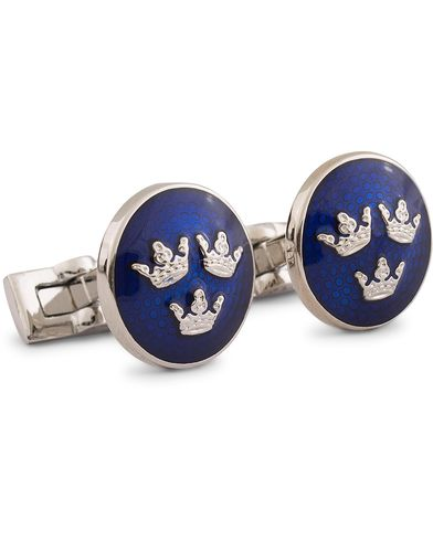 Skultuna Cuff Links Tre Kronor Silver/Royal Blue  i gruppen Accessoarer / Manschettknappar hos Care of Carl (10530110)