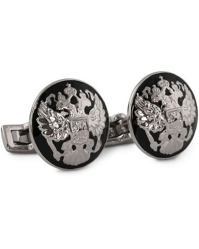 Skultuna Cuff Links The Double Eagle Silver/Black  i gruppen Assesoarer / Mansjettknapper hos Care of Carl (10530410)