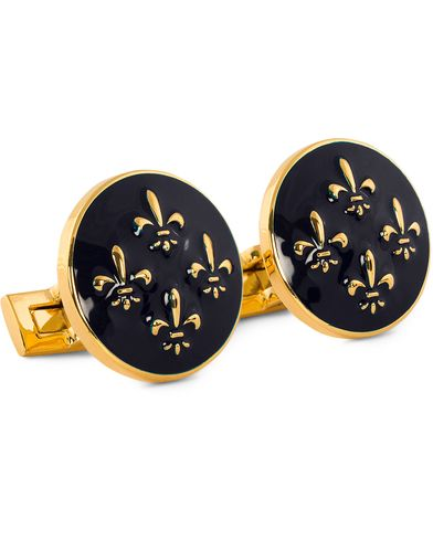 Skultuna Cuff Links Fleur de Lys Gold/Royal Blue  i gruppen Assesoarer / Mansjettknapper hos Care of Carl (10530610)