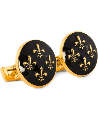 Skultuna Cuff Links Fleur de Lys Gold/Baroque Black  i gruppen Assesoarer / Mansjettknapper hos Care of Carl (10530710)
