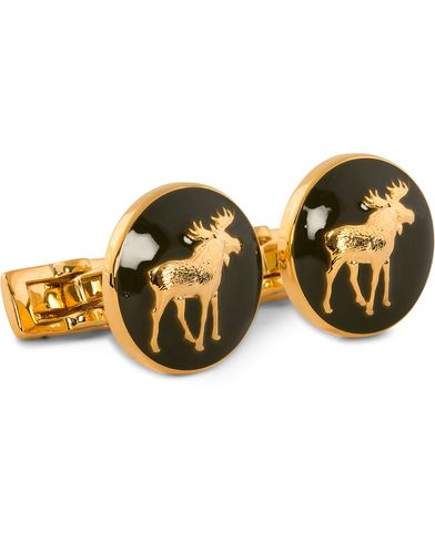 Skultuna Cuff Links Hunter The Moose Gold/Green  i gruppen Assesoarer / Mansjettknapper hos Care of Carl (10531410)