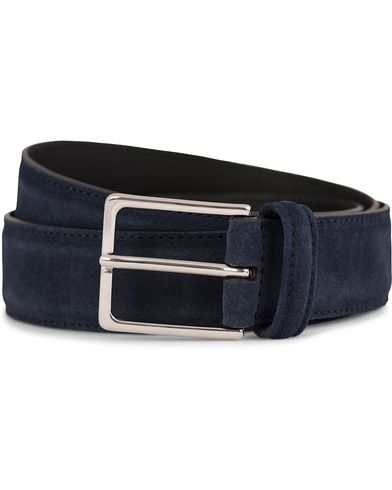 Anderson's Suede/Leather Belt 3,5 cm Navy i gruppen Tilbehør / Bælter / Blanke bælter hos Care of Carl (10791511r)