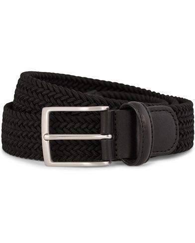 Anderson's Elastic Textile Belt 3,5 cm Black i gruppen Accessoarer / Bälten / Flätade bälten hos Care of Carl (10791911r)