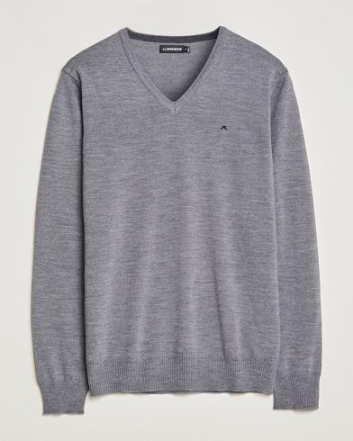 J.Lindeberg Lymann True Merino V-Neck Pullover Grey i gruppen Kläder / Tröjor / Pullovers / V-ringade pullovers hos Care of Carl (10829911r)