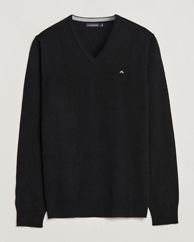 J.Lindeberg Lymann True Merino V-Neck Pullover Black i gruppen Tr�jor / Pullover / Pullover V-ringad hos Care of Carl (10830011r)
