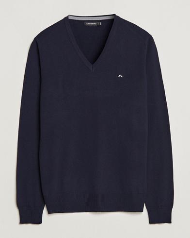 J.Lindeberg Lymann True Merino V-Neck Pullover Navy i gruppen Tröjor / Pullovers / V-ringade pullovers hos Care of Carl (10830111r)