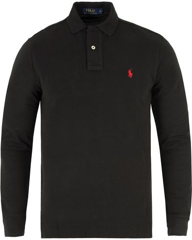 Polo Ralph Lauren Long Sleeve Custom Fit Piké Black i gruppen Pikéer / Långärmade pikéer hos Care of Carl (10994111r)