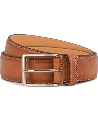 Oscar Jacobson Leather Belt 3,5 cm Brown i gruppen Accessoarer / Bälten / Släta bälten hos Care of Carl (10998811r)