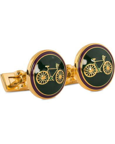 Skultuna Cuff Links Themocracy Gold/Racing Green  i gruppen Accessoarer / Manschettknappar hos Care of Carl (11004010)