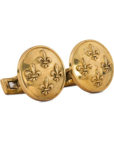 Skultuna Cuff Links Fleur de Lys Raw Brass  i gruppen Tilbehør / Manchetknapper hos Care of Carl (11004210)