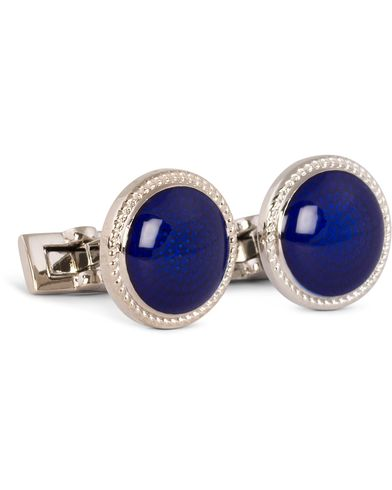 Skultuna Cuff Links Black Tie Collection Enamel Blue Silver  i gruppen Accessoarer / Manschettknappar hos Care of Carl (11004410)