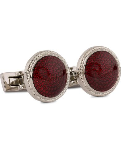 Skultuna Cuff Links Black Tie Collection Enamel Red Silver  i gruppen Assesoarer / Mansjettknapper hos Care of Carl (11004510)
