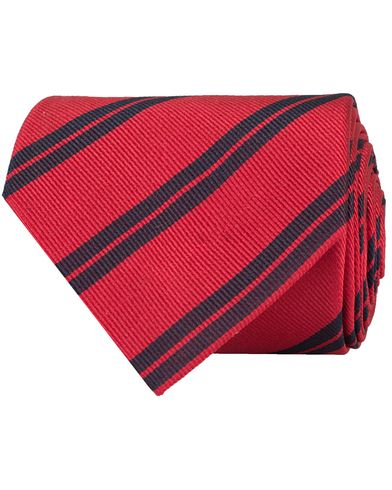 Amanda Christensen Stripe Classic Tie 8 cm Red/Navy  i gruppen Assesoarer / Slips hos Care of Carl (11011710)