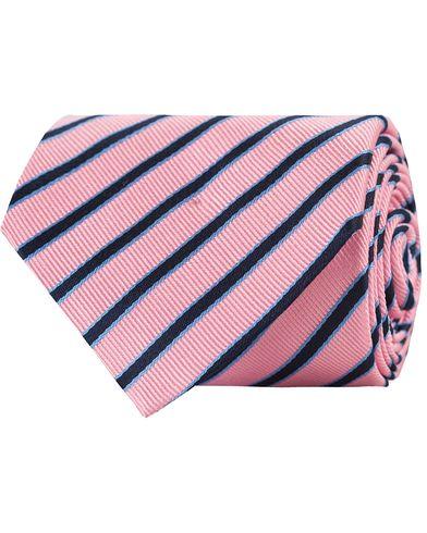 Amanda Christensen Diagonal Stripe Tie 8 cm Pink/Navy/Sky  i gruppen Accessoarer / Slipsar hos Care of Carl (11013310)
