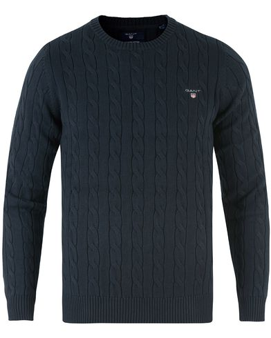 GANT Cotton Cable Crew Pullover Evening Blue i gruppen Tröjor / Stickade tröjor hos Care of Carl (11134111r)