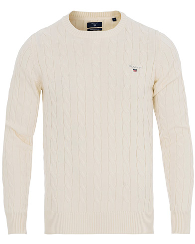 GANT Cotton Cable Crew Pullover Cream i gruppen Gensere / Strikkede gensere hos Care of Carl (11134211r)