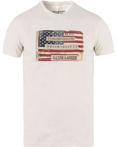 Denim & Supply Ralph Lauren Crew Neck Flag Tee Antique Cream i gruppen Klær / T-Shirts / Kortermede t-shirts hos Care of Carl (11222711r)