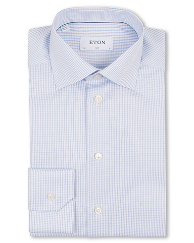 Eton Slim Fit Shirt Check Blue i gruppen Tøj / Skjorter / Businessskjorter hos Care of Carl (11271011r)