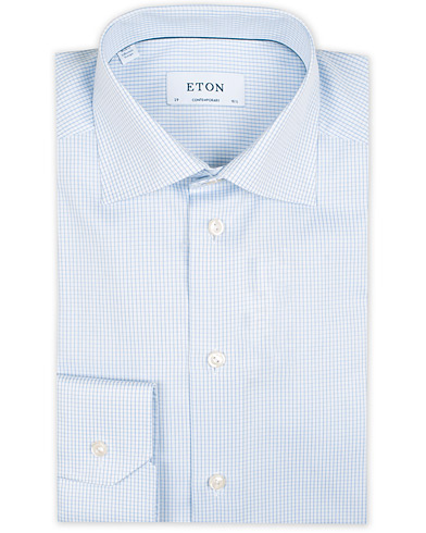 Eton Contemporary Fit Shirt Check Blue i gruppen Klær / Skjorter / Businesskjorter hos Care of Carl (11271711r)