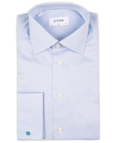 Eton Slim Fit Shirt Double Cuff Blue i gruppen Skjorter / Formelle skjorter hos Care of Carl (11272211r)