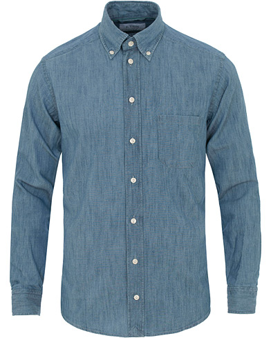 Eton Slim Fit Shirt Green Ribbon Denim Blue i gruppen Tøj / Skjorter / Denimskjorter hos Care of Carl (11274011r)