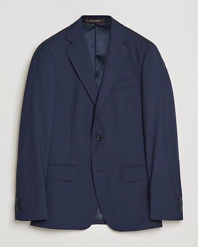 Oscar Jacobson Edmund Blazer Super 120's Wool Navy i gruppen Kläder / Kavajer / Enkelknäppta kavajer hos Care of Carl (11278911r)