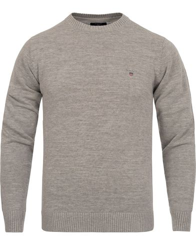 GANT Natural Cotton Crew Neck Light Grey Melange i gruppen Trøjer / Pullovere / Pullovers med rund hals hos Care of Carl (11302411r)