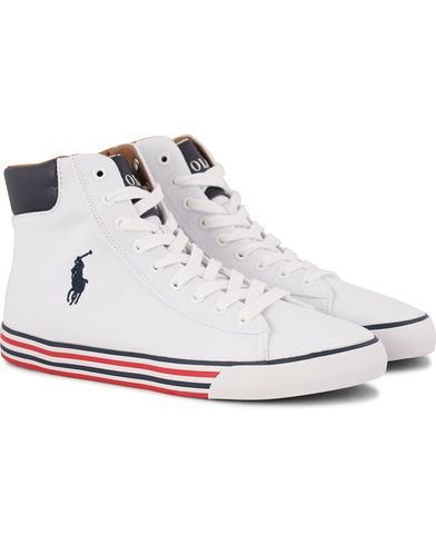 Polo Ralph Lauren Harvey Mid-NE Sneaker White/Newport Navy i gruppen Sko / Sneakers / Sneakers med høyt skaft hos Care of Carl (11310011r)