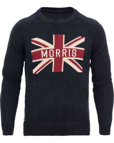 Morris Union Jack Sweater Old Blue i gruppen Kläder / Tröjor / Stickade tröjor hos Care of Carl (11417111r)