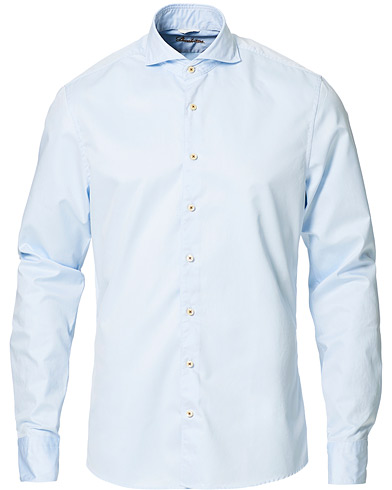 Stenströms Slimline Washed Cotton Plain Shirt Light Blue i gruppen Design A / Skjorter / Casual skjorter hos Care of Carl (11557411r)