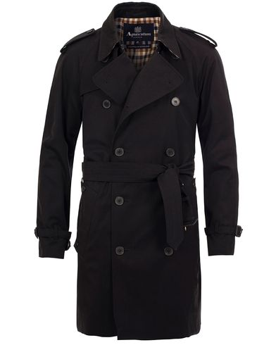 Aquascutum Corby Double Breasted Trenchcoat Black i gruppen Jackor / Rockar hos Care of Carl (11577411r)